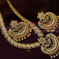 AD Multi Colour Jewellery Big Broad Earrings Pendant Latest Trendy Designs Online