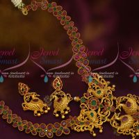 AD Semi Precious Stones Peacock Pendant Latest Traditional Jewellery Ornaments Online
