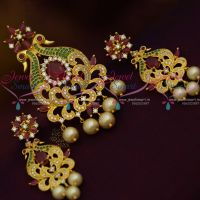 Peacock Design AD Multi Colour Pendant Set Gold Plated Jewellery Online