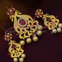 Peacock Design AD Ruby White Colour Pendant Set Gold Plated Jewellery Online