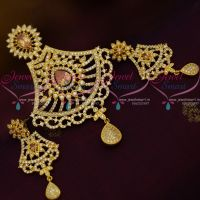 AD Big Pendant Set Gold White Stones Latest Design Fashion Jewellery Online