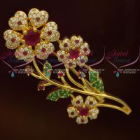 Floral Ruby Emerald AD Stones Fashion Matching Jewellery Saree Pins Accessory