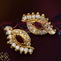Screw Tops Earring Maroon White AD Stones Jewellery Collections Online