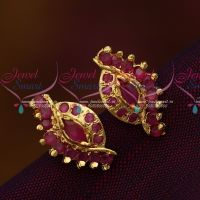 Screw Tops Earrings Ruby AD Jewellery South Indian Collections online