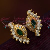 Screw Tops Earring Green White AD Stones Jewellery Collections Online