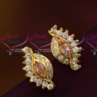 Screw Tops Earrings Pink White South Indian Ear Studs Online