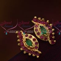 Screw Ear Studs Earrings Ruby Emerald AD Jewellery Collections Online