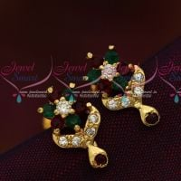 Red Green Multi Colour AD Stones Screwback Ear Studs South Indian Jewellery Online