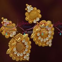 Woven Design Matching South Indian Jewellery Screwback White Stones Collections