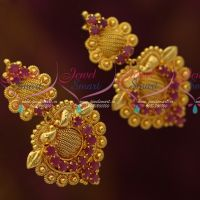 Ruby Stones Matching South Indian Fashion Jewellery Screwback Collections