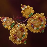 Multi Colour Stones Matching South Indian Fashion Jewellery Screwback Collections