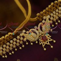 AD Peacock Pendant Floral Hip Chain Vaddanam Designs Party Wear Collections Online