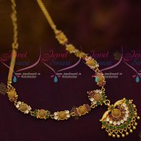 South Indian AD Daily Wear Jewellery Collections Multi Colour Stones Short Necklace