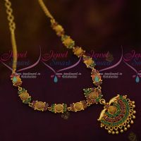 South Indian AD Daily Wear Jewellery Collections Ruby Emerald Stones Short Necklace