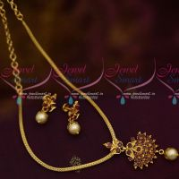 Gold Plated Chain Ruby Pendant Small Screwback Earrings Pearl Drops Elegant Design Jewellery