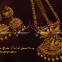 Gold Plated Chain Pendant Screw Back Jhumka Earrings Latest Jewellery Designs Online