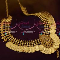 Temple Jewellery Coin Kasumala Short Necklace South Indian Designs Online