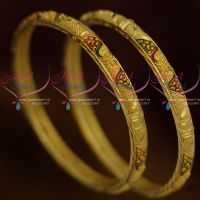 Thin Light Gold Matte South Indian Jewellery Real Look Imitation Bangles Enamel Colour
