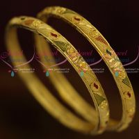 Guaranteed Gold Look Daily Wear Jewellery South Indian Thin Bangles Collection Online