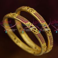 AD Jewellery Ruby Emerald Stones Latest Traditional Design Bangles Online