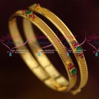 Woven Design Kemp Red Green Stones Daily Wear Bangles Jewellery Shop Online