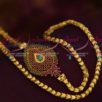 One Gram 24 Inches Chain Ruby Emerald Mugappu Pendant Party Wear Online