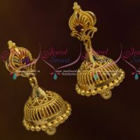 South Indian Jhumka Screwback Lock Casting Design Jewellery Daily Wear