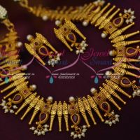 Kerala Style South Indian Fashion Jewellery Pearl Drops Matte Finish Imitation Designs Online
