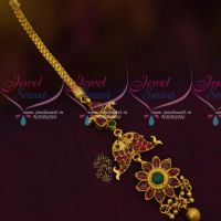 Fish Design AD Multi Colour Maang Tikka NethiChutti Matching Jewellery Accessory Online