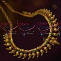 South Indian Fashion Jewellery Mango Design Ruby Emerald AD Necklace