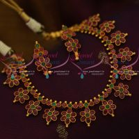 Floral Design Latest Trendy AD Ruby Emerald Handmade Fashion Jewellery Online
