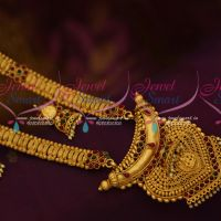 South Indian Ethnic Temple Jewellery Haram Collections Matte Gold Finish Online