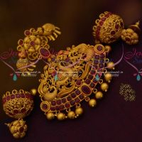 Red Stones Nakshi Peacock Elephant Decorated Matte Pendant Earrings Jhumka Online