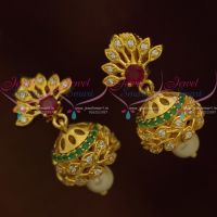 Small Jhumka Kids Girls Jewellery Ruby Emerald White AD Light Weight Collections Online