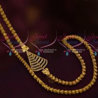 AD White Stones Mugappu Daily Wear Jewellery 24 Inches Fancy Chain Collections Online