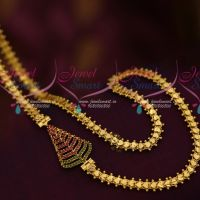 Ruby Emerald Mugappu Daily Wear Jewellery 24 Inches Fancy Chain Collections Online