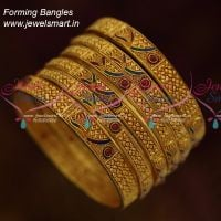 Antique Reddish Colour Forming Real Gold Finish 6 Pieces Set Bridal Jewellery Collections