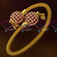 AD Ruby Stones Bead Drops Design Twist Open Kada Shop Online