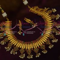 One Gram Floral Nakshi Pearl Drops Ruby Emerald AD Jewellery Shop Online