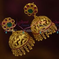 One Gram Gold Plated Jewellery South Indian Jhumka Earrings Floral Design Collections Online