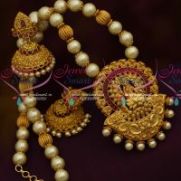 Pearl Temple Jewellery Matte Beaded Nakshi Broad Jhumka Collections Online Matte Collections