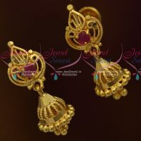 Small Size Jhumka Screwback Lock Casting Design Jewellery Daily Wear