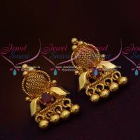 South Indian Jewellery Daily Ruby Red Wear Small Earrings Gold Finish Online