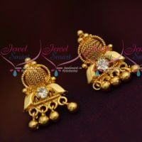 South Indian Jewellery Daily AD White Wear Small Earrings Gold Finish Online