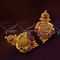 South Indian Ruby Jewellery Matching Daily Wear Small Ear Studs Gold Finish Online