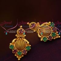 South Indian Ruby Emerald Jewellery Matching Daily Wear Small Ear Studs Gold Finish Online