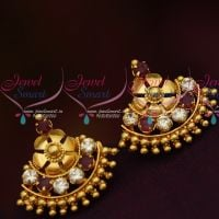 South Indian Traditional Jewellery Screwback Ruby White Stone Daily Wear Earrings Gold Finish  Online