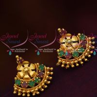 South Indian Traditional Jewellery Screwback Red Green Stone Daily Wear Earrings Gold Finish  Online