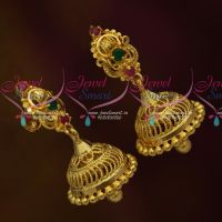 Latest South Indian Jhumka Screwback Lock Casting Design Jewellery Daily Wearg