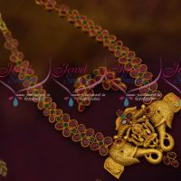 AD Semi Precious Stones Temple Pendant Latest Traditional Jewellery Ornaments Online